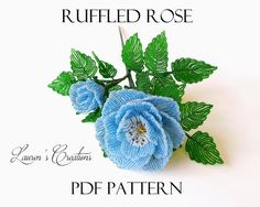 PDF Pattern - French Beaded Ruffled Roses, Lauren's Creations beaded flower pattern, seed bead and wire craft, DIY home decorations