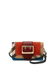 7ffa3553785a BURBERRY Small Buckle Suede   House Check Shoulder Bag