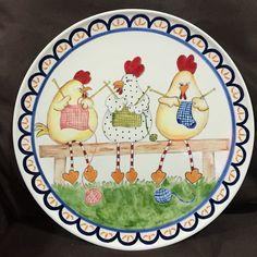 Pintura de cerâmica à mão com galinhas divertidas