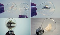 Light imitating art: Albanian artist shows he's switched on by creating miniature worlds inside lightbulbs