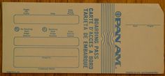 Vintage Pan Am Pan American Airlines Blank Boarding Pass - New Old Stock NOS FOR SALE • CAD 6.57 • See Photos! Money Back Guarantee. Mint condition and will ship in a semi-rigid protective sleeve. See pictures, fast shipping. 172302557555
