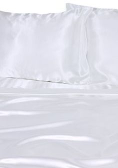 Elite Home Products  Luxury Satin Solid Sheet Set - White - Twin Regular Pocket Pillowcase Flat & Fitted Sheet Set