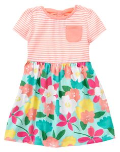4475d8133f22 Toddler Girls Peach Stripe Floral Dress by Gymboree Little Girl Fashion