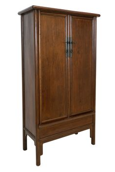 Elm two door armoire with inner shelving and two drawers and secret compartment. Southern China, beginning Century Shop Cabinets, Storage Cabinets, Tall Cabinet Storage, Bookcase Storage, Shelving, Art Furniture, Modern Furniture, Chinese Cabinet, Secret Compartment