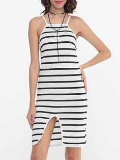 Spaghetti Strap Side Slit Stripes Bodycon Dress - fashionmeshop.com