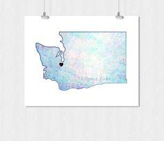 WATERCOLOR WASHINGTON STATE Print Digital Download by ClipArtBrat