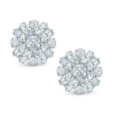 AVA Nadri Cubic Zirconia Cluster Stud Earrings in White Rhodium Plated Brass  - Peoples Jewellers. $80. Absolutely Stunning!