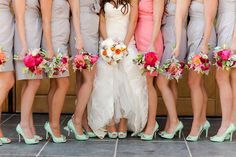 love the gray dresses with coral and mint