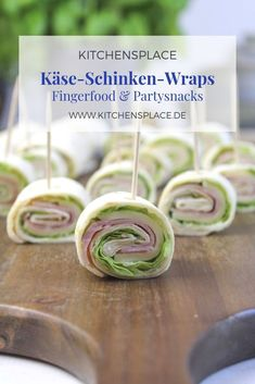 Ham and cheese wraps - Fingerfood & Partysnacks - Sandwiches Gourmet Sandwiches, Sandwiches For Lunch, Healthy Sandwiches, Sandwich Recipes, Cheese Wrap, Ham And Cheese, Party Finger Foods, Snacks Für Party, Sandwiches Gourmets