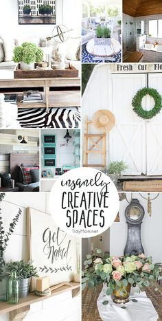If you like farmhouse decor and rustic ideas this list of Insanely Creative Spaces is sure to inspire you to get busy with new decor ideas for your home. Check out the step by step tutorials to learn how to make an impressive creative space in your home, from a plank wall and budget friendly bathroom renovation, to how NOT to paint furniture, how to turn a closet into a command center and more at TidyMom.net