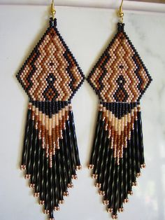 Native American Beaded Weave Earring in by BeadedCreationsetc, $50.00