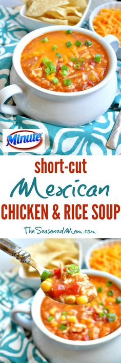 Ready in less than 15 minutes, this easy dump-and-go lunch or dinner is the perfect meal for busy back-to-school season! Just heat up a handful of pantry staples and you will have a piping hot bowl of Short-Cut Mexican Chicken and Rice Soup ready in no time! #ad LunchWithMinute @MinuteRiceUS