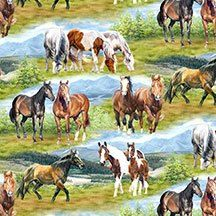 Wild at Heart for Wilmington Prints 12604 / Horses on green  - 1 Yard Cuts, 1/2 Yard Cuts & Fat Quarters by SewWhatQuiltShop on Etsy