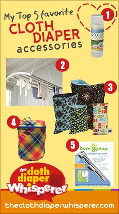 My Top 5 Favorite Cloth Diaper Accessories; grovia stick baby balm, drying rack, planet wise wet bags/wipe bags, kanga large wet bag, diaper sprayer