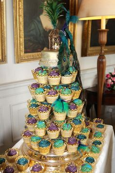 purple and green peacock theme cupcakes