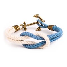 """Our Triton Knot Collection bracelets are carefully hand knotted in Rhode Island from locally twisted nautical cord in a variety of classic New England colors.  Considered the most useful knot utilized in boating. Used for tying light lines, awning stops, reef points, cord on packages, and in fact is put to such numerous uses by sailors that many landsmen call it the """"Sailor's Knot.""""  Dimensions: anchor measures 1.25"""" x .75""""  Sizing: X Small  6.5"""" Small      7"""" Medium   7.5""""  Large      8""""  X…"""