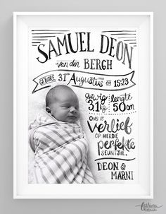 A Hand Lettered Birth Announcement by fathima kathrada - Graphic Design - # Geburtsanzeige Baby Birth, Baby Boy Newborn, Baby Boys, Birth Announcement Girl, Birth Announcements, Baby Posters, Diy Bebe, Baby Frame, Baby Cards