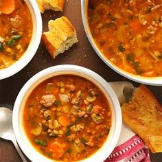 Beef Lentil Soup Recipe- Recipes You can prepare this soup as the main course in a hearty lunch or dinner. But—on cold winter evenings here in New England—I've often poured a steaming mugful and enjoyed sipping it in front of our fireplace as well. Korma, Biryani, Beef Lentil Soup, Beef Soups, Pork Soup, Low Sodium Soup, Lentil Soup Recipes, Chili Recipes, Orzo Recipes