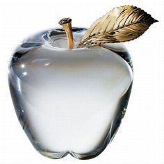 Steuben Glass Apple with Gold Stem & Leaf: