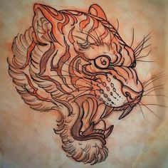 This image shows a drawing of a head of a tiger growling. The tiger looks very fierce with all its teeth very visible. The tiger is brushed lightly with the orange color. #tattoofriday #tattoos #tattooart #tattoodesign #tattooidea