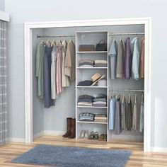 ClosetMaid Bring harmony to your master suite or walk-in closet with this essential closet system, featuring a storage tower and 3 rods Finish: Natural Gray Closet Renovation, Closet Remodel, Closet Rod, Closet Storage, Boys Closet, Bedroom Storage, Diy Closet Shelves, Closet Organizer With Drawers, Front Closet