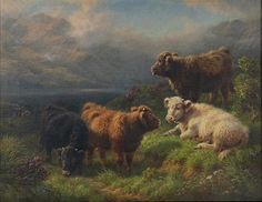 Artwork by Rosa Bonheur, Scottish Highland Cattle, Made of oil on canvas
