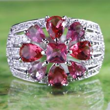 Flower Gift Ruby Spinel & White Topaz Gemstone Silver Ring Size 8 Free Shipping