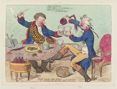 Political cartoon by Gillray depicting Pitt & Dundas in an inebriated state (1795)