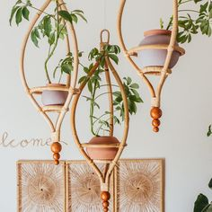 Make all your hanging garden dreams come true with this gorgeous Miya Hanging Planter Frame your favorite green little buddy with midcentury designed wood and a pot of yo. Rattan Planters, Hanging Planters, Garden Planters, Succulent Planters, Diy Hanging, Succulents Garden, Deco Design, Wood Design, Deco Nature
