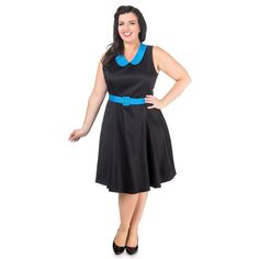 Courtney Vintage Style Swing Dress in Black with Blue Collar