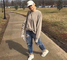 (Cold) Tomboy // White Hat, Tan Sweatshirt, Blue De-stressed Jeans, White Sneakers