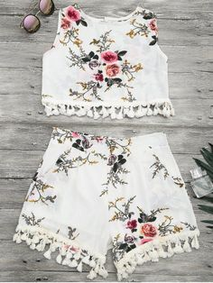 Floral Print Beach Cover Up Shorts Set - OFF-WHITE XL