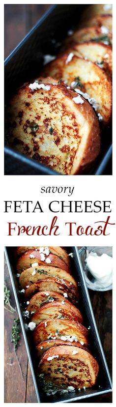 Soaked in a custard blend with crumbled feta cheese and fresh thyme, this Savory Feta Cheese French Toast will quickly become your family's favorite! French toast can be savory too, not just a sweet thing anymore!