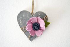 Gray wooden heart with pink felt flower home by TheCraftyblackcat