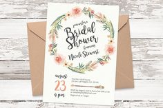 Floral wreath invitation template 05 by AnemonePaperie on @creativemarket