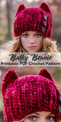 love that red, make a cozy cat hat - crochet hat pattern - bulky yarn Crochet Mug Cozy, Knit Or Crochet, Crochet Scarves, Crochet Crafts, Crochet Clothes, Crochet Projects, Crochet Winter Hats, Hat Crafts, Crotchet