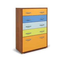 Cassettiera in legno 7 cassetti colorati cassa color noce Cm 76x40,5xH 128