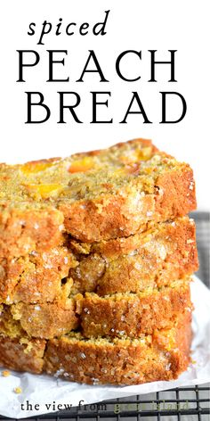 Bread Recipes, Baking Recipes, Cake Recipes, Dessert Recipes, Peach Bread, Peach Quick Bread, Spiced Peaches, Delicious Desserts, Yummy Food