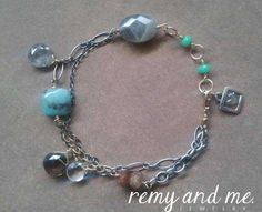 One-of-a-kind artisan gemstone bracelet (sterling silver and 14k gold-fill) by Remy and Me. jewelry