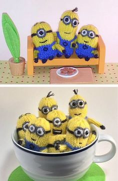 Sewing Toys Free Knitting Pattern for Tiny Tiny Minion Friends - Four different shapes of minion toys. to 2 inches tall. Designed by Teresa de Roulet - Knitting Blogs, Loom Knitting, Free Knitting, Knitting Projects, Cute Crochet, Crochet Toys, Crochet Bear, Sewing Toys, Sewing Crafts