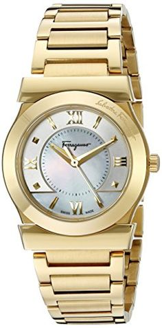 Women's Wrist Watches - Salvatore Ferragamo Womens FI1940015 VEGA Yellow Gold IonPlated Watch * Check out this great product.