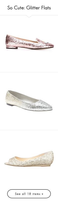 """So Cute: Glitter Flats"" by polyvore-editorial ❤ liked on Polyvore featuring glitterflats, shoes, slippers, flats, gold, gold flat shoes, glitter flat shoes, gold flats, glitter flats and flat pointed-toe shoes"