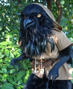 This is the giant anthropomorphic raven costume crafted by video game artist and illustrator Rah-Bop based on his Dungeons & Dragons character, Rue.