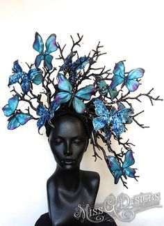 Miss G Designs blue butterfly headdress hats headpieces Costume Original, Women Artist, Blue Butterfly, Butterfly Fashion, Butterfly Fairy, Costume Makeup, Headdress, Faeries, Costume Design