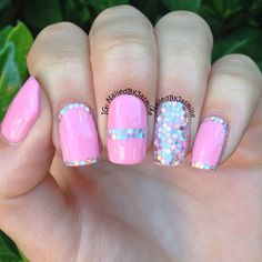 Pink Glitter Placement Nails - ✧ ➳ nailedbyjasmine