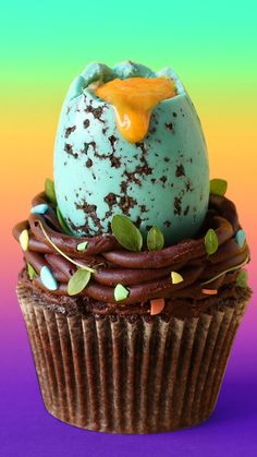 Make your very own speckled Easter eggs filled with cheesecake on a chocolate ganache bird's nest!