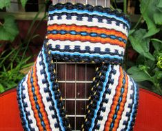 Handwoven Guitar Strap, Comfortable Strong Cotton, Leather Guitar Ends, Free Leather Headstock Strap Holder or Banjo Strap Adapters
