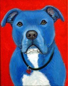 Blue Pit Bull Terrier Fine Art Print by Nesbitt- Art for Animals. $18.00, via Etsy.