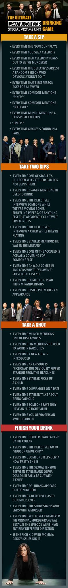 "The Ultimate ""Law & Order: SVU"" Drinking Game Fucking flawless."