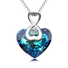 """YFN """"Heart Of the Ocean"""" Sterling Silver Blue Crystal Heart Pendent Women Necklaces 18"""""""